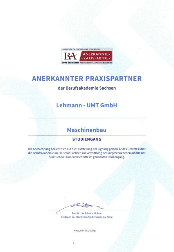 Lehmann-UMT GmbH - Zertifikate